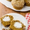 Pumpkin Spice Muffins with Cream Cheese Filling and Pecan Streusel