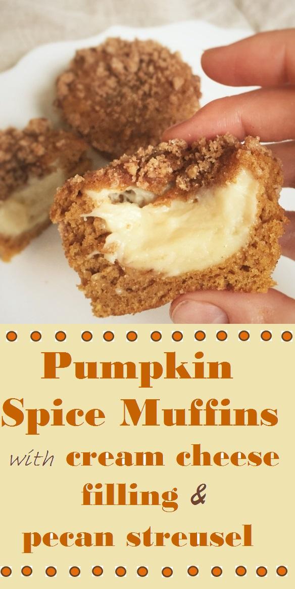 Pumpkin Spice Muffins with Cream Cheese Filling and Pecan ...